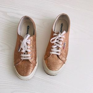 Superga Shoes - Superga Rose Gold Textured Metallic Sneakers